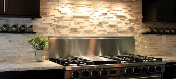 Charming Kitchen Backsplash Ideas With Delightful Backsplash In Kitchen Ideas And Natural Stone Tile Backsplash Ideas And Modern Range Hood With Stove Design - Queen Decor